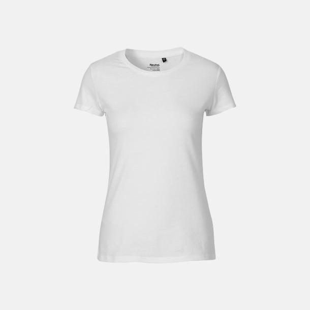 Vit (dam) Fitted t-shirts i ekologisk fairtrade-bomull med tryck