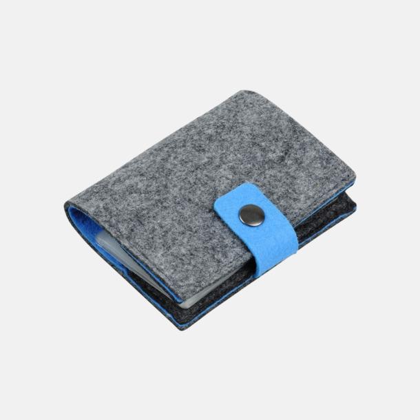 Grå/Blå Visitkortsfodral i filt med reklamtryck