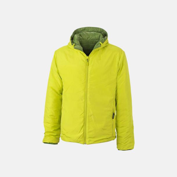 Jungle Green/Acid Yellow in- och utvänd (herr) Vändbara lättviktsjackor i herr- och dammodell med eget tryck