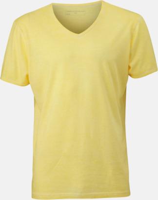 Ljusgul (herr) Trendiga v-neck t-shirts i herr- och dammodell med reklamtryck