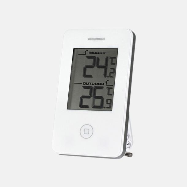 Vit Termometrar som visar inne- & utetemperatur - med reklamtryck