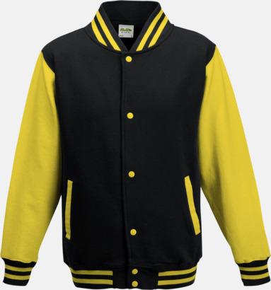 Jet Black/Sun Yellow Trendiga varsity-jackor för barn - med reklamtryck