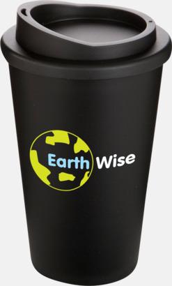 Svart Kaffemuggar för utemiljöer med lock