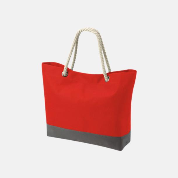 Röd/Grå Shoppingkassar med rephandtag - med reklamtryck