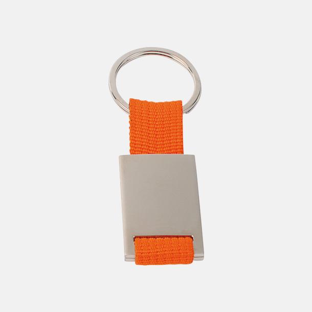 Orange / Silver Metallnyckelringar med färgade polyesterband med gravyr