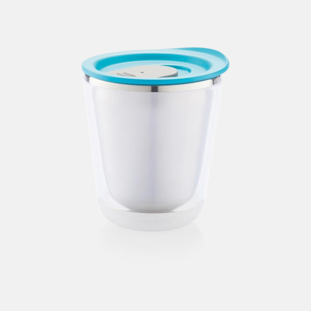 Turkos/Grå Isolerade kaffemuggar med lock - med reklamtryck