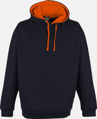 Oxford Navy/Electric Orange Huvtröjor med kontrastfärger - med tryck