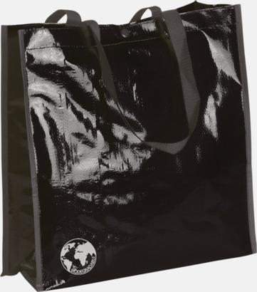 Svart Biologiskt nedbrytbara shoppingbagar med reklamtryck