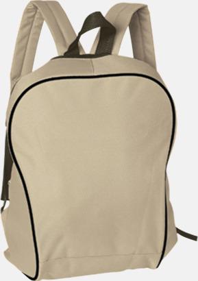 Beige Retroryggsäckar i snygg design - med reklamtryck