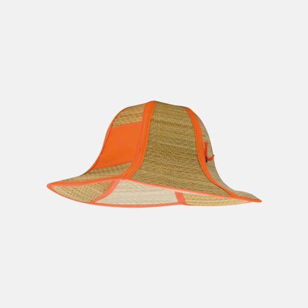 Orange Vikbara strandhattar med reklamtryck