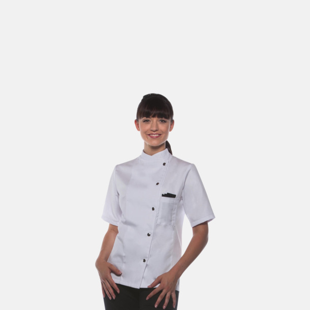 Lång- och kortärmade kockjackor i dammodell med reklamtryck
