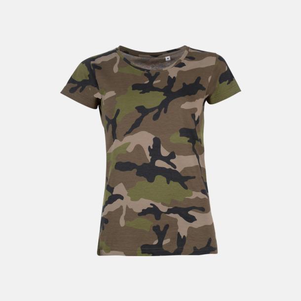 Camo (dam) Kamouflagemönstrade t-shirts i herr- & dammodell med reklamtryck