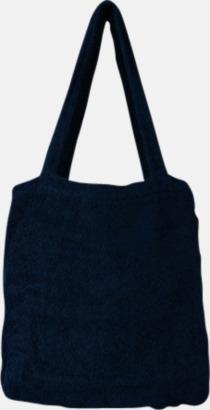 """Navy Blue Bomullsväskor av """"handduksfrotté"""" med bordyr"""