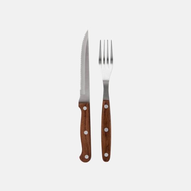 Silver / Mörkt trä 12-delars kött- och grillbestick set från Selected by Mannerström