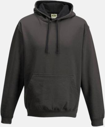 Charcoal (Heather)/Jet Black Huvtröjor med insida av luva och dragsko i kontrasterande färg - med reklamtryck