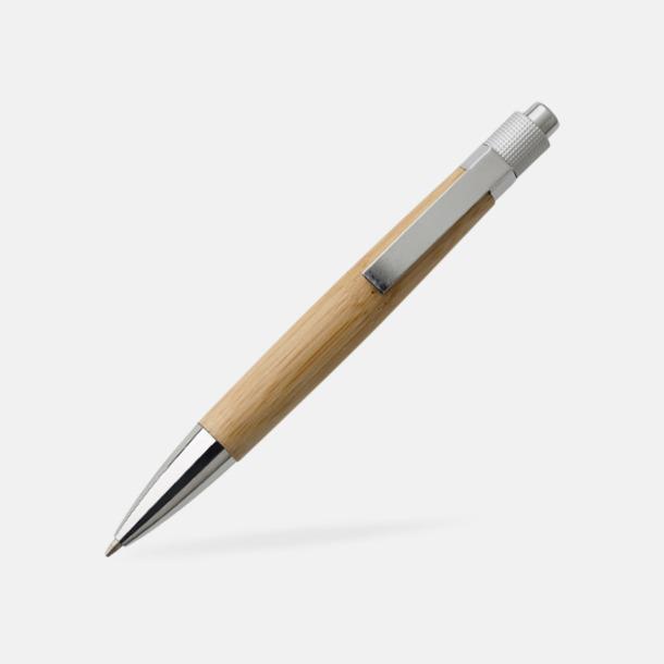 Natur / Silver Bläckpennor med bambupennkropp med reklamtryck