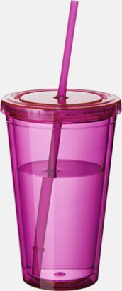 Rosa (transparent) Plastmuggar med lock och sugrör - med tryck