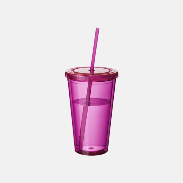 Rosa (transparent) Plastmuggar med lock och sugrör - med reklamtryck