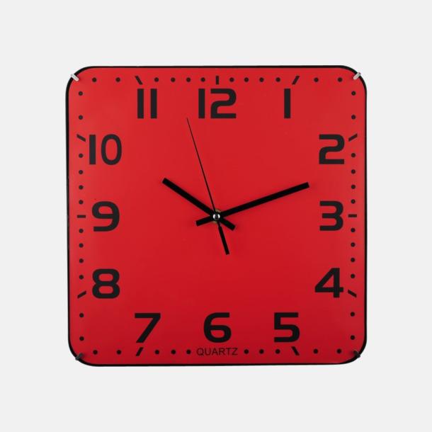 Röd / Svart Fyrkantiga väggur med reklamtryck
