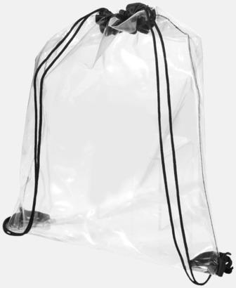Transparent / Svart Genomsynliga gymnastikpåsar i plast med reklamtryck