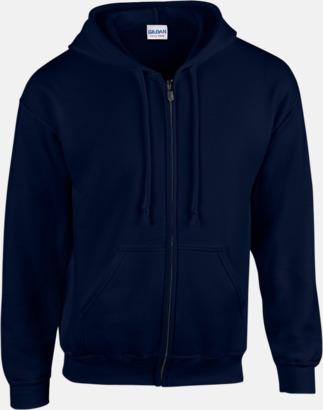Marinblå Heavy Blend-tröja i herrmodell med reklamtryck