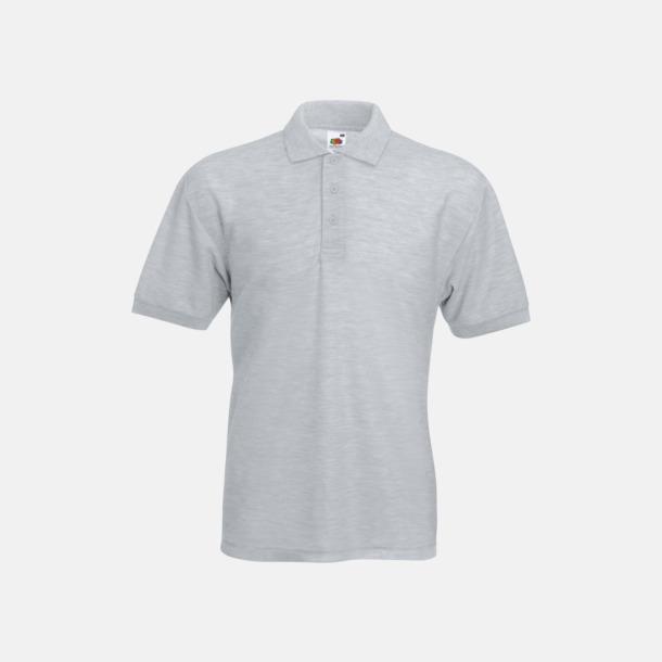Heather Grey Pikétröjor med reklamtryck eller brodyr