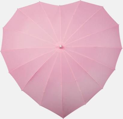 Ljusrosa Hjärtformade paraplyer med eget tryck