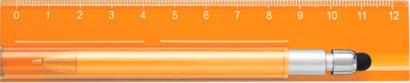 Orange Linjal med styluspenna i hållare - med reklamtryck