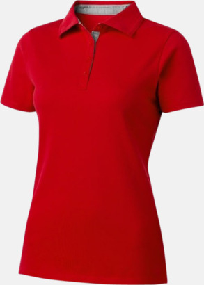 Röd (dam) Kvalitets pikéer i herr- och dammodell med reklamtryck