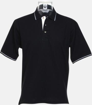 Svart/Vit (herr) Tvåfärgade pikétröjor i herr- och dammodell med reklamtryck