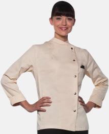 Cream (långärmad) Lång- och kortärmade kockjackor i dammodell med reklamtryck