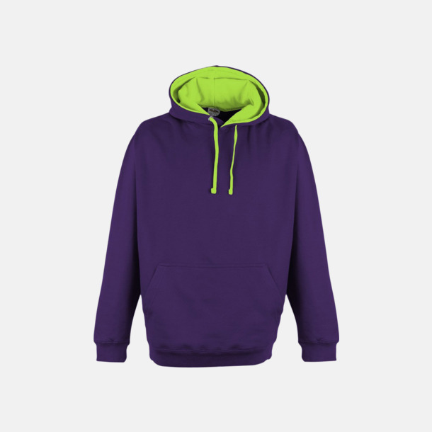 Purple/Electric Green Huvtröjor med kontrastfärger - med tryck