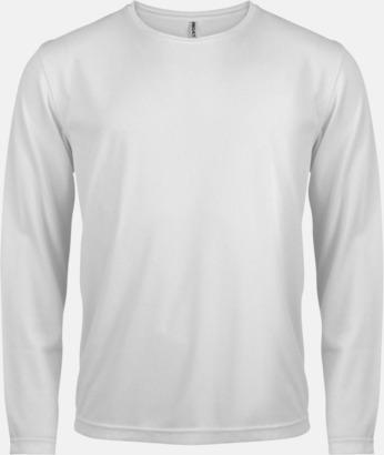 Vit Sport t-shirts med långa ärmar för män - med reklamtryck