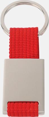 Röd / Silver Metallnyckelringar med färgade polyesterband med gravyr