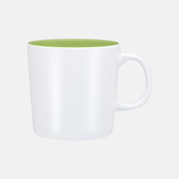 Vit/Lime (matt) Koppar med reklamtryck