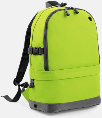 Lime Green Ryggsäckar med dubbelfack - med reklambrodyr