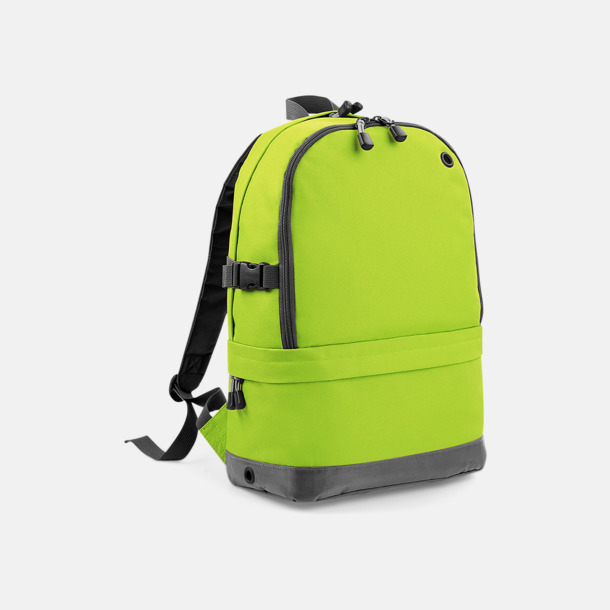 Limegrön Ryggsäckar med dubbelfack - med reklambrodyr