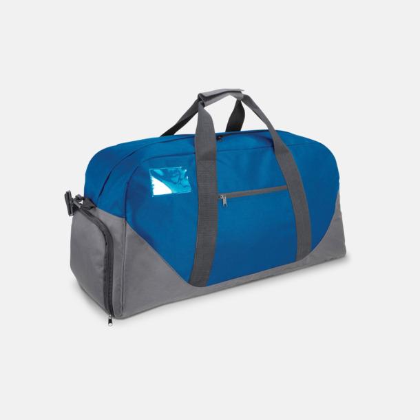 Royal Blue/Mörkgrå Res- och sportväska med skoficka - med tryck