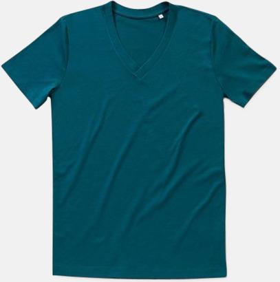 Pacific Blue (v-neck herr Ekologiska t-shirts i flera modeller och många färger - med reklamtryck