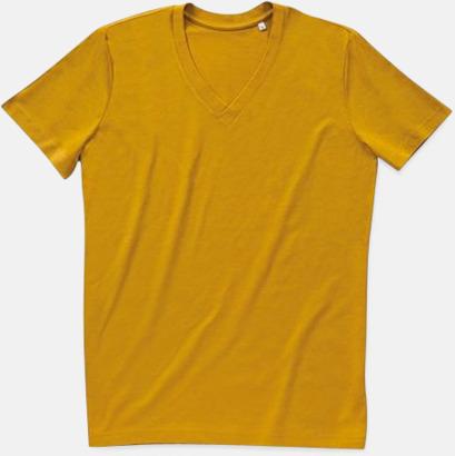 Indian Yellow (v-neck herr) Ekologiska t-shirts i flera modeller och många färger - med reklamtryck