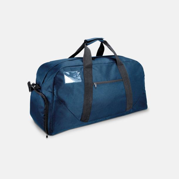 Marinblå Res- och sportväska med skoficka - med tryck