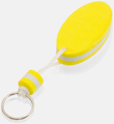 Gul/vit Små nyckelringar som flyter - med tryck