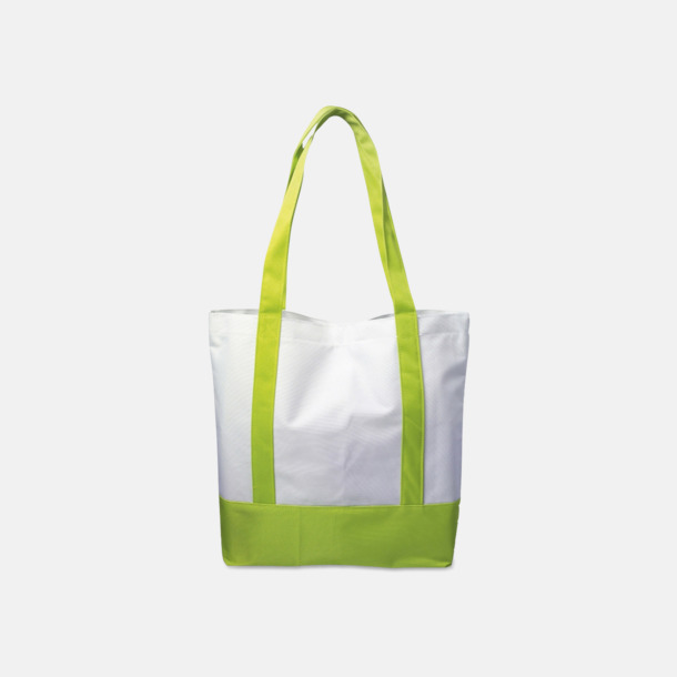 Pale Green/Vit Nylonkassar med reklamtryck