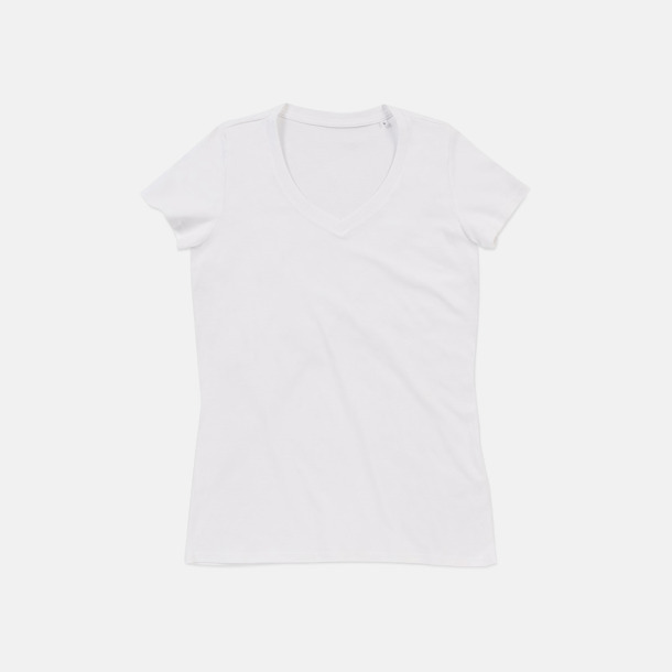 Vit (v-neck dam) Ekologiska t-shirts i flera modeller och många färger - med reklamtryck