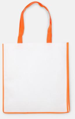 Orange / Vit Shoppingbagar i Non woven med tryck