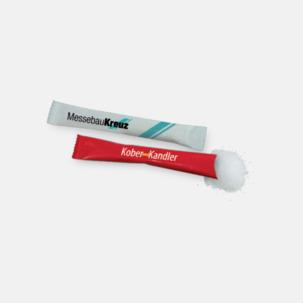 Små förpackningar med socker - med reklamtryck