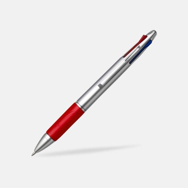 Röd/Silver Penna med 4 bläckfärger - med tryck