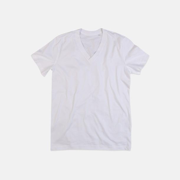 Vit (v-neck herr) Ekologiska t-shirts i flera modeller och många färger - med reklamtryck