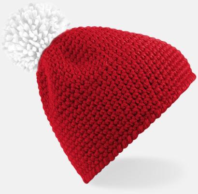 Classic Red/Vit Virkade mössor av suprafleece med reklambrodyr