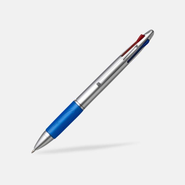Blå/Silver Penna med 4 bläckfärger - med tryck